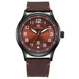 Luxury Mens Nylon Strap Quartz Fashion Casual Military Sports Auto Date Waterproof Business Watches (Brown)