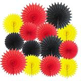 Mickey Mouse Party Supplies 14pcs Yellow Red Black Paper Fans for Mickey/Minnie Mouse Party Decorations Mickey Mouse Birthday Party Decor Pinwheel Backdrop Decor Wall Photo Backdrop
