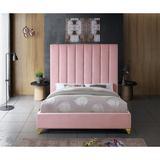 Everly Quinn Alaysia Upholstered Platform Bed Upholstered/Velvet in Pink, Size 60.0 W x 81.0 D in   Wayfair 854DBAF84D4349819D251633FD8345C3