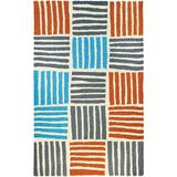 Longshore Tides Kia Striped Hand Hooked Teal/Orange/Gray Indoor/Outdoor Area Rug Polypropylene in White, Size 78.0 H x 58.0 W x 0.5 D in | Wayfair
