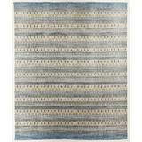 World Menagerie Cacho Striped Hand-Loomed Sky Blue/Beige Rug Viscose/Wool/Cotton in White, Size 120.0 H x 96.0 W x 0.5 D in | Wayfair