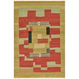 World Menagerie Lela Geometric Beige/Rust Red/Brown Rug Polypropylene in Brown/Red/White, Size 108.0 H x 72.0 W x 0.5 D in | Wayfair