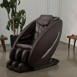 Inner Balance Wellness Reclining Heated Full Body Massage Chair w/ Ottoman Faux Leather in Brown, Size 46.0 H x 31.5 W x 57.0 D in | Wayfair