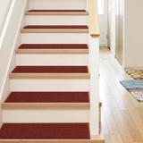 Well Woven Kings Court Warby Solid Plain Non-Skid Stair Tread Synthetic Fiber in Red, Size 0.3 H x 31.0 W x 9.0 D in | Wayfair KC-00-STE