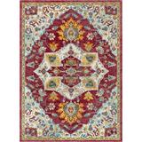 Well Woven Allure Ari Serapi Medallion Power Loom Rug Polyester/Polypropylene in Red, Size 109.0 H x 94.0 W x 0.25 D in   Wayfair AE-00-7