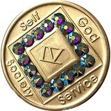 4 Year NA Medallion Bronze Amethyst Swarovski Crystal Chip IV