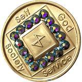 10 Year NA Medallion Bronze Amethyst Swarovski Crystal Chip