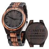 Groomsmen Watches Custom Engraved Wooden Watches for Men Wedding Anniversary Watch for Men with Wooden Boxes - Zebra Black