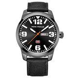 Men's Casual Sports Quartz Date Waterproof Military Luxury Wristwatch Camouflage Dial Nylon Strap (Black)