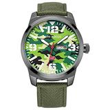 Men's Casual Sports Quartz Date Waterproof Military Luxury Wristwatch Camouflage Dial Nylon Strap (Camouflage Green)