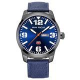 Men's Casual Sports Quartz Date Waterproof Military Luxury Wristwatch Camouflage Dial Nylon Strap (Blue)