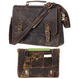 """Leather Messenger Bag For Men RFID Satchel Briefcases Computer Bag 17"""" Laptop"""