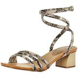 Chinese Laundry Women's Montezuma Heeled Sandal, Black/Cream Snake, 6.5 M US