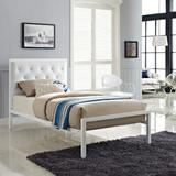 Mia Twin Vinyl Bed Frame MOD-5179-WHI-WHI-SET