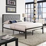 Mia Full Fabric Bed Frame MOD-5180-BRN-GRY-SET