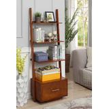 American Heritage Ladder Bookcase w/ File Drawer in Cherry - Convenience Concepts 8043491CH