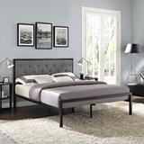 Mia Queen Fabric Bed Frame MOD-5182-BRN-GRY-SET
