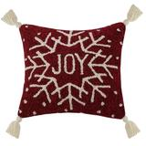 The Holiday Aisle® Thiele Joy Snowflake Tassels Wool Throw Pillow Polyester/Polyfill/Wool/100% Wool in Red | Wayfair