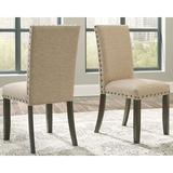 Gracie Oaks Chapdelaine Side Chair in TanWood/Upholstered/Fabric in Brown/Green, Size 39.5 H x 18.5 W x 21.5 D in   Wayfair