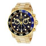 Invicta 21555 Men's Pro Diver Blue Dial Yellow Gold Steel Bracelet Chronograph Watch