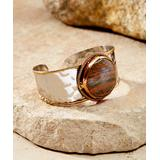 Anju Women's Bracelets Silver, - Unakite Tri-Tone Janya Cuff