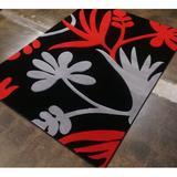 Latitude Run® Supranowitz Hand-Tufted Black Area Rug Polypropylene in Black/Gray/Red, Size 126.0 H x 95.0 W x 0.5 D in | Wayfair GEO8x11Black149
