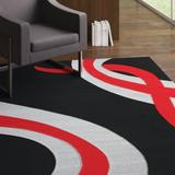 Latitude Run® Supranowitz Hand-Tufted Gray/Black/Red Area Rug Polypropylene in Black/Gray/Red, Size 89.0 H x 64.0 W x 0.5 D in | Wayfair