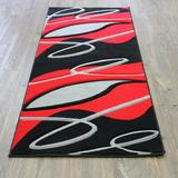 Latitude Run® Supranowitz Black/Silver/Red Area Rug Polypropylene in Black/Gray/Red, Size 89.0 H x 32.0 W x 0.5 D in   Wayfair GEO3x8Black128