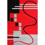 Latitude Run® Supranowitz Hand-Tufted Black/Red/Gray Area Rug Polypropylene in Black/Gray/Red, Size 126.0 H x 95.0 W x 0.5 D in | Wayfair