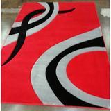 Latitude Run® Supranowitz Gray/Black/Red Area Rug Polypropylene in Black/Gray/Red, Size 89.0 H x 64.0 W x 0.5 D in | Wayfair GEO5x8Red150