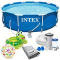 INTEX 305x76 cm Prism Metal Frame Swimming Pool Schwimmbecken 28202 Komplett-Set mit Filterpumpe und Extra-Zubehör wie: Strandball und Schwimmring