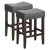 SONGMICS Set of 2 Bar Counter Stool, Well-Padded Dining Chair, Solid Wood Legs, Cotton-Linen Fabric, Seat Height 26.4 Inches, with Footrest,Gray ULDC38GY