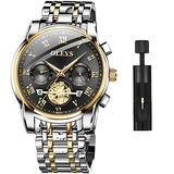 OLEVS Men's Watch Quality Analog Quartz Stainless Steel Waterproof Chronograph Luminous Business Casual Silver Band Black Dial Luxury Dress Big Face Wrist Watches