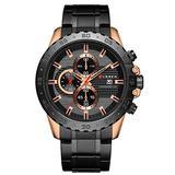 Men's Quartz Watch Stainless Steel Chronograph Men's Fashion Sports Watch Men's Casual Business Watch (Rose Gold Black)