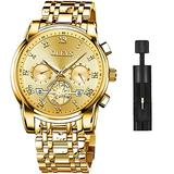 OLEVS Men's Watch Quality Analog Quartz Stainless Steel Waterproof Chronograph Luminous Business Casual All Gold Luxury Dress Big Face Wrist Watches