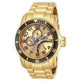 Invicta 15343 Mens Pro Diver Quartz Multifunction Gold Dial Watch with JR00 Caliber