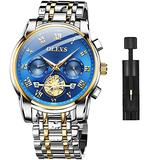 OLEVS Men's Watch Quality Analog Quartz Stainless Steel Waterproof Chronograph Luminous Business Casual Silver Band Blue Dial Luxury Dress Big Face Wrist Watches