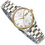 OLEVS White Dail Watches for Womens, Classic Analog Quartz Lady Wrist Watch with Stainless Steel Band Waterproof Roman Numeral Dress Unique Calendar Date Window Business Women's Watch Small Face