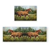 """Aomike Kitchen Rug Set, 2 Piece Non-Slip Kitchen Mat Running Horse Carpet for Living Room Rubber Backing Doormat Accent Area Rug Sets, 19.7"""" x 31.5""""+19.7"""" x 47.2"""""""
