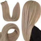 RUNATURE Natural Hair Clip in Extensions 14 Inch Clip in Extensions Human Hair Natural Ash Blonde Real Human Hair Clip in Extensions in 3 Pieces Human Hair Clip in 50g Hair Clip in Extensions