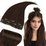 RUNATURE Clip in Hair Extensions Brown Hair Extensions 16 Inch Human Hair Extensions Clip in Brown Clip in Hair Extensions 50 Gram Brown Hair Extensions Clip in 3 Pieces Hair Extensions