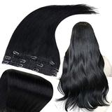 RUNATURE Real Hair Extensions Clip in Human Hair 14 Inch Hair Extensions Jet Black Clip in Hair Extensions Straight Hair 3 PCS Natural Hair Extensions Clip in Real Hair Extensions 50g
