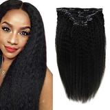 RUNATURE Real Hair Extensions Clip in Human Hair Color 1B Off Black 7 PCS 100g Remy Hair Extensions 18 Inch Real Hair Extensions Clip in Human Hair