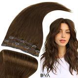 RUNATURE Hair Extensions Clip in Human Hair 10 Inch Short Hair Extensions Chocolate Brown Hair Extensions 50g Real Hair Extensions Clip in Human Hair 3 Pieces Clip in Human Hair Extensions