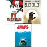 The Edge-of-your-seat Classics Stephen King Silver Bullet & It Pennywise the Clown Horror Movie + Jaws DVD 3 Feature movie Scare bundle