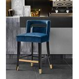 Iconic Home Irithel Counter Stool Chair Velvet Upholstered Nailhead Trim Half Back Seat Design Tone Footrest Bar Gold Tip Tapered Wood Legs Modern Transitional, NAVY,FCS9493-AN