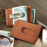 Leather money clip, 'Savvy Traveler'