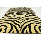World Menagerie Coles Animal Print Yellow/Area Rug Polypropylene in Black, Size 144.0 H x 108.0 W x 0.5 D in | Wayfair