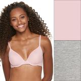 SO 2-Pack Lightly Lined Convertible T-Shirt Bra, Women's, Size: 36 C, Light Pink