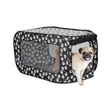 Etna Products Women's Pet Cages and Crates Black - Black & White Paw Print Pop-Open Pet Kennel